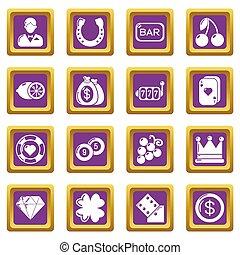 Casino icons set purple square