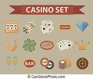 Casino icons, vintage style. Gambling set isolated on a white background. Poker, card games, one-armed bandit, roulette collection of design elements. Vector illustration, clip art.