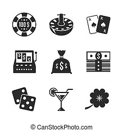 Casino iconset for design, contrast flat isolated vector...