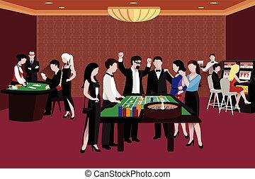 casino, illustratie, mensen