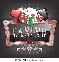 Casino  illustration with ornate frame, card symbols, playing cards and dice