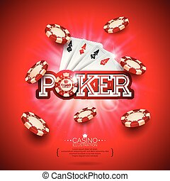 Casino Illustration with poker card and playing chips on red background. Vector gambling design for invitation or promo banner.