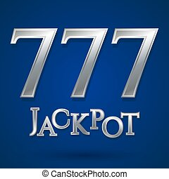 Casino jackpot symbol. Silver text jackpot number 777. Casino games icon. Poker club casino symbol. Internet casino games. Blue background with shadow. Casino logo isolated. Vector illustration.