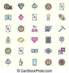 casino, jeux, paquet, icônes