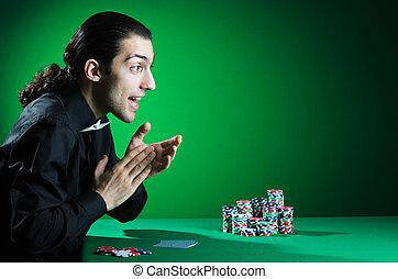 casino, jouer, homme