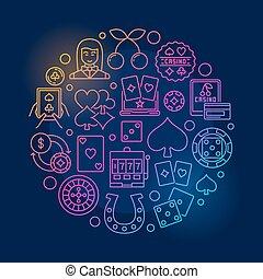 casino, kleurrijke, illustratie