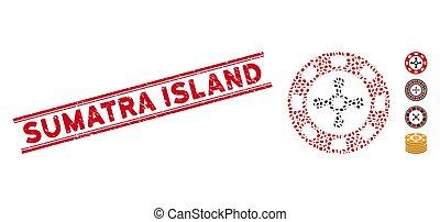 casino, línea, astilla, isla, collage, ruleta, grunge, sello...
