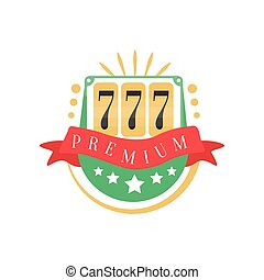 Casino logo, colorful gambling vintage emblem with lucky number 777 vector Illustration