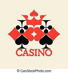 Casino logo concept. Original emblem design. Card suits composition. Vector illustration.