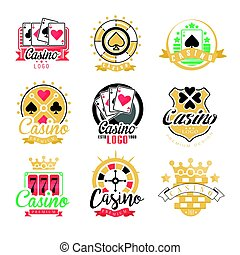 Casino logo design, set of colorful gambling emblems, labels, badges, vector Illustrations