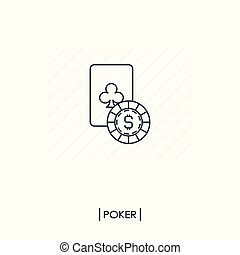 Casino logo. Playing card with coin outline icon
