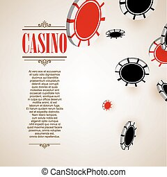 Casino logo poster background or flyer. Casino invitation or banner template with Flying Poker Chips . Game design. Playing casino games. Vector illustration.