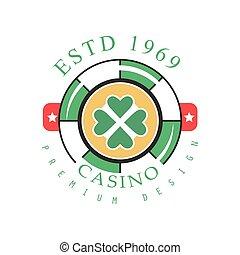 Casino logo premium design, colorful vintage gambling badge...