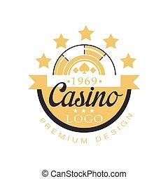 Casino logo premium design, golden vintage gambling badge or...