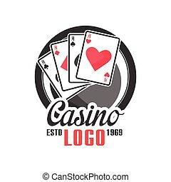 Casino logo, vintage gambling badge or emblem estd 1969...