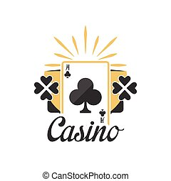 Casino logo, vintage gambling badge or emblem with ace of...
