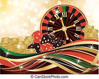 Casino merry christmas background, vector illustration