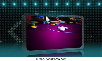 Casino montage on blue and and purple glittering background