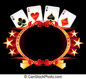 Casino neon - Cards with poker symbols over vintage gold...