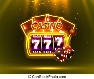 Casino Neon cover, slot machines and roulette with cards, Scene background art.