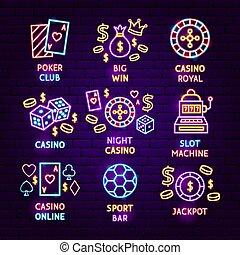 Casino Neon Label Set