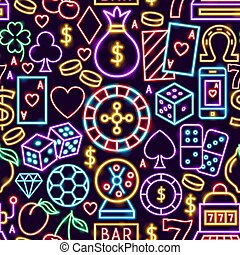 Casino Neon Seamless Pattern