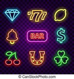 Casino neon signs on dark background vector