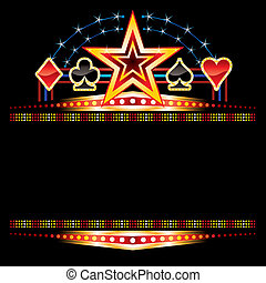 Star and poker symbols over empty neon