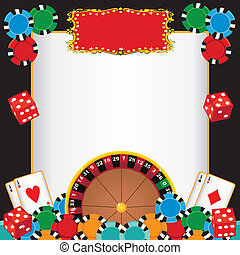 Roulette wheel, gambling chips, playing cards and dice with a red marquee to highlight your event