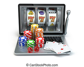 Casino online concept, gambling. Laptop slot machine with dice and cards.