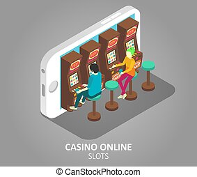 Casino online mobile slots vector illustration
