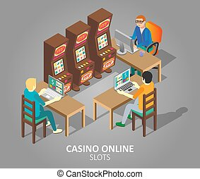 Casino online slots vector isometric illustration