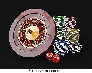 casino, opperen, frites, dice., 3d, achtergrond, roulette, ...
