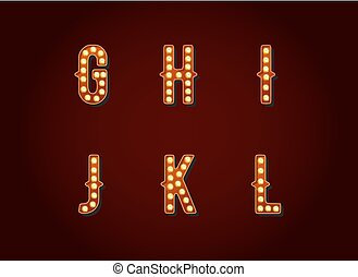 Casino or Broadway Signs style light bulb Alphabet Letter Character in Vector Set