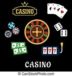 casino, plat, iconen, met, geluksspelletjes, symbolen