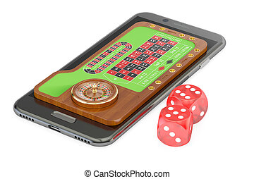 Casino, play online concept on smartphone screen, 3D rendering