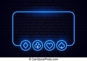 casino playing card neon symbols frame background