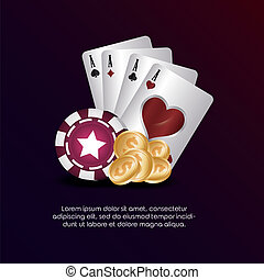 casino poker aces cards chip and coins money