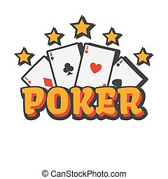 Casino poker cards and golden stars vector template icon