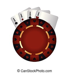 casino poker chip aces card suit vector illustration