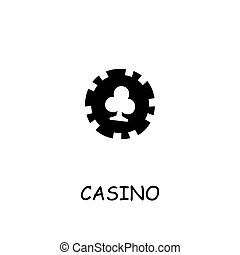 Casino, Poker Chip flat vector icon