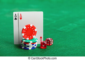 Casino poker chips, dice and cards