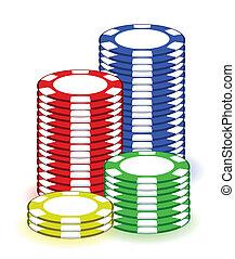 Casino poker chips illustration design on white background