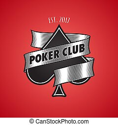 Casino, poker club vector logo, icon. Illustration with spade cards suit