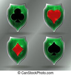 Casino Poker coat of arms, vector illustration