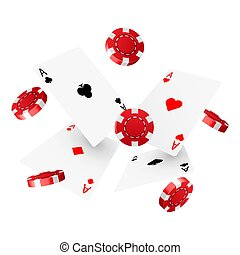Casino poker design template. Falling poker cards and chips. Winner concept. Casino lucky background.