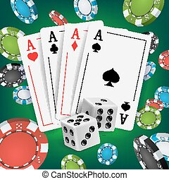 Casino Poker Design Vector. Poker Cards, Playing Gambling Cards. Poker Cards, Chips, Playing Gambling Cards. Online Casino Lucky Background Concept. Realistic Illustration