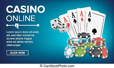 Casino Poker Design Vector. Success Winner Royal Casino Poster. Poker Cards, Chips, Playing Gambling Cards. Realistic Illustration