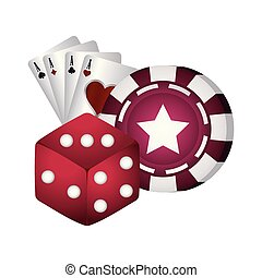 casino poker dice chip and ace cards