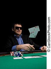 Casino poker - Flying cards in texas hold'em poker over ...